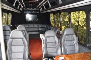 Around the Van Seating , Table Seating, & Refreshment Center.